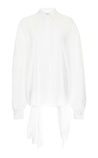 Collared Cotton-Blend Tie Back Top