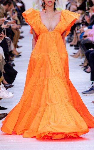 Ruffled Neckline Deep-V Gown