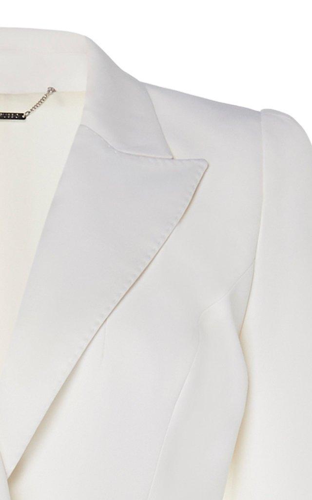 Asymmetric Ruffle Trim Crepe Blazer