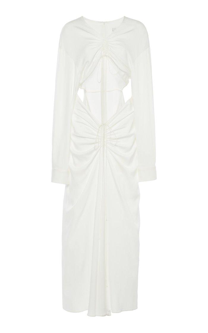Ruched Cutout Crepe Dress