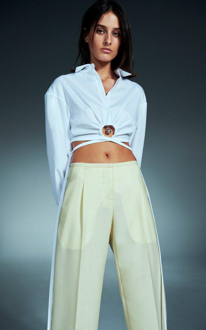 Pierced Cotton Cropped Shirt
