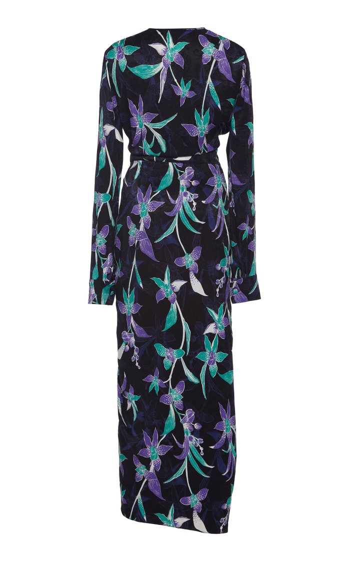Lily Ruched Printed Cupro-Blend Maxi Dress