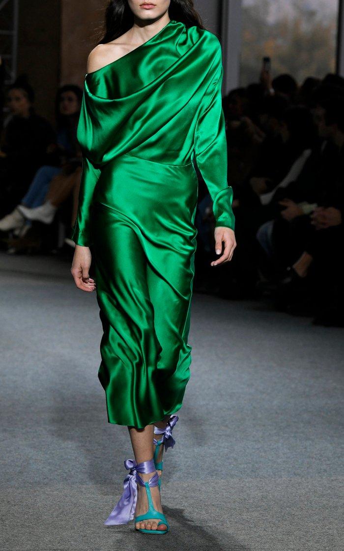 One-Shoulder Draped Silk-Satin Midi Dress