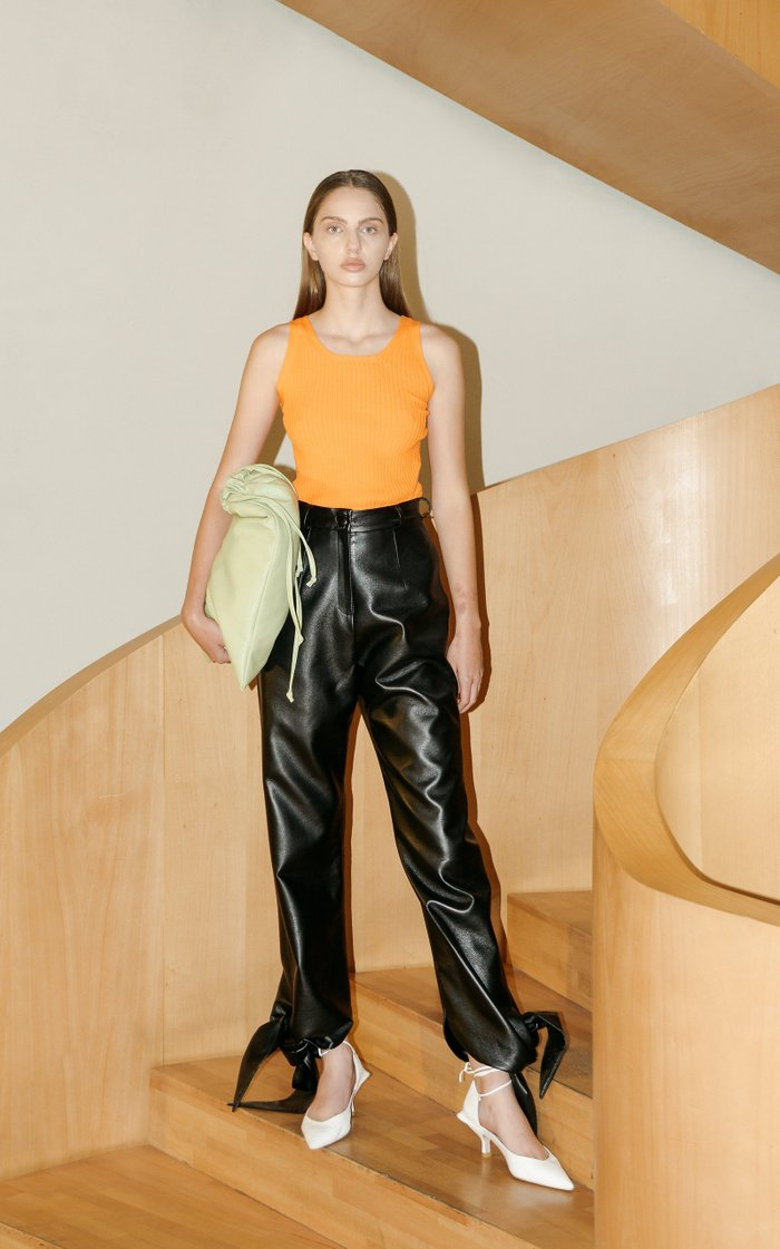 Tie-Detailed Faux Leather Straight-Leg Pants
