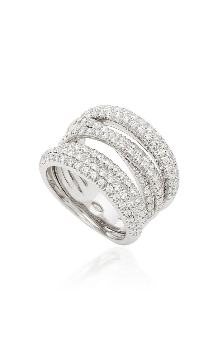 Scribble 18K White Gold And Diamond Ring
