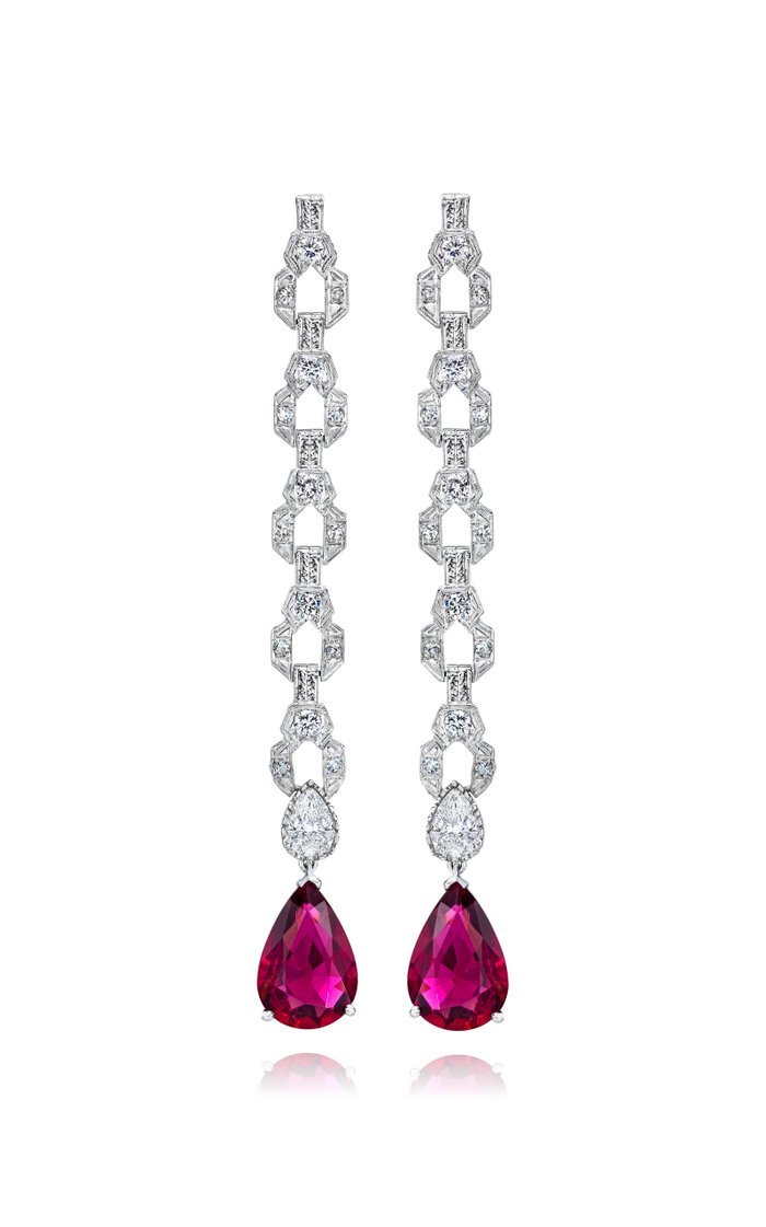 Exclusive Platinum, Diamond and Rubellite Earrings