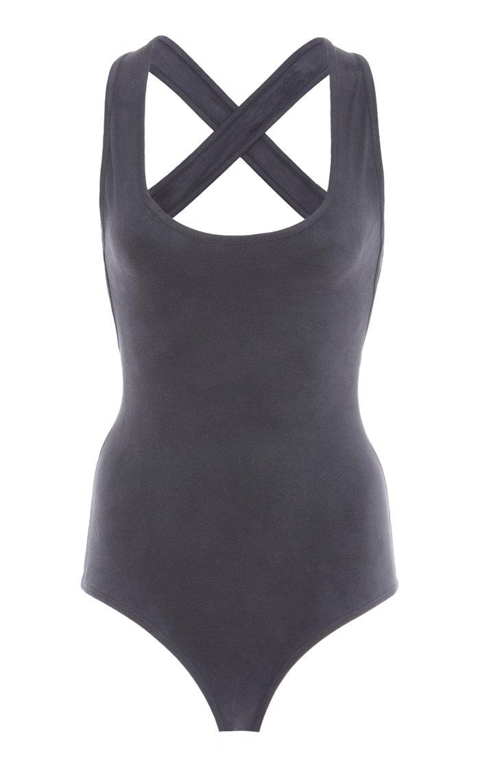 Velvet-Jersey Sleeveless Bodysuit