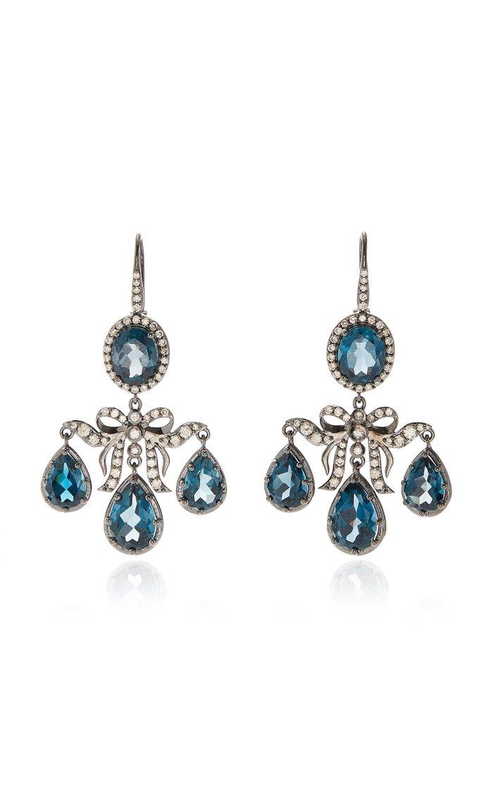 Medora Girandole 14K White Gold, Topaz And Diamond Earrings
