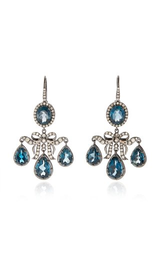 Medora Girandole 14K White Gold, Topaz And Diamond Earrings
