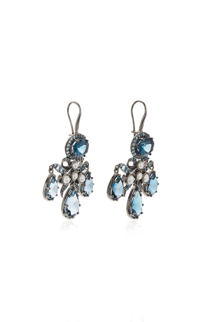 Medora Girandole 14K White Gold, Topaz And Pearl Earrings