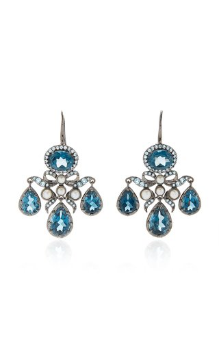 Medora Girandole 14K White Gold, Topaz And Pearl Earrings