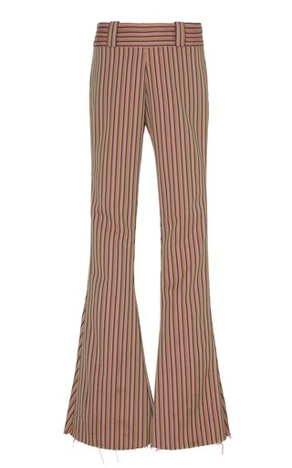Carnaby Striped Cotton Flared Pants