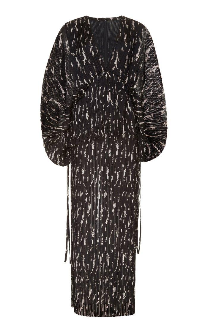Printed Plissé Maxi Dress