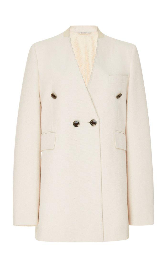 Collarless Cotton-Blend Blazer
