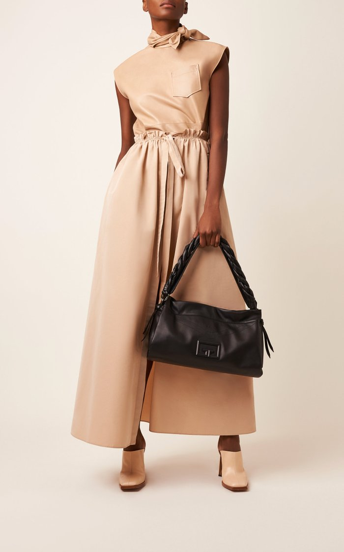 Pleated Cotton-Blend Maxi Skirt