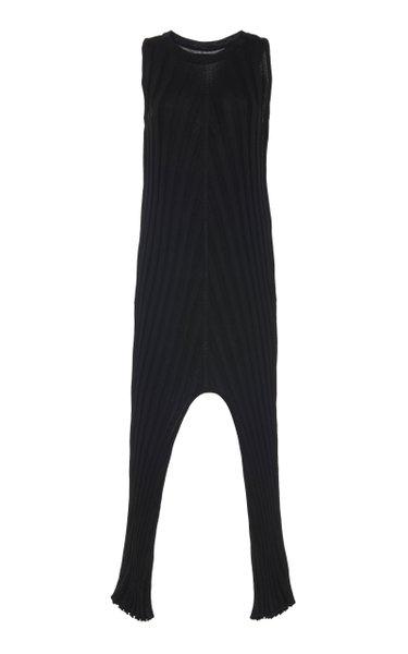 Ribbed Knit Cotton Midi Dress