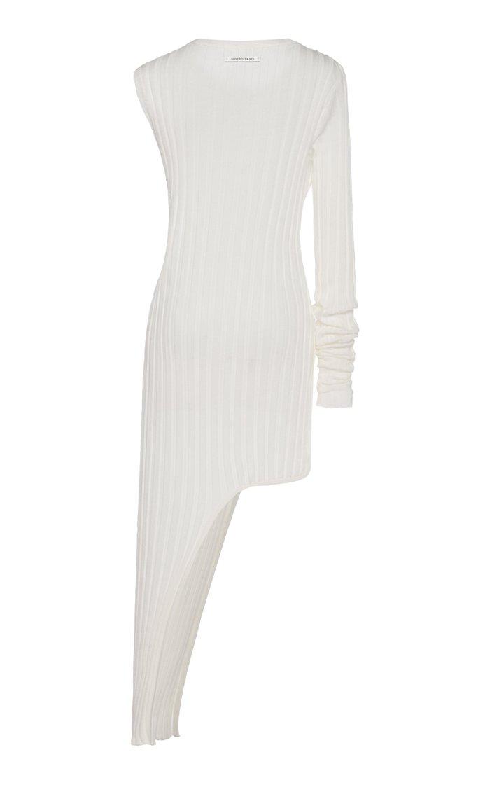 Ribbed Slit Cotton Midi Dress
