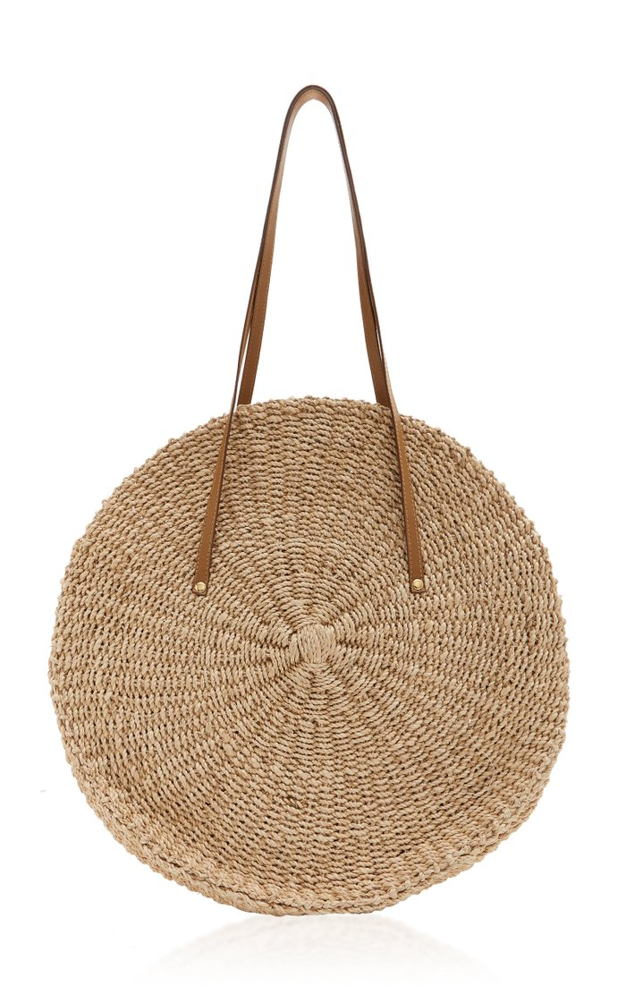 Belen Leather-Trimmed Woven Straw Tote