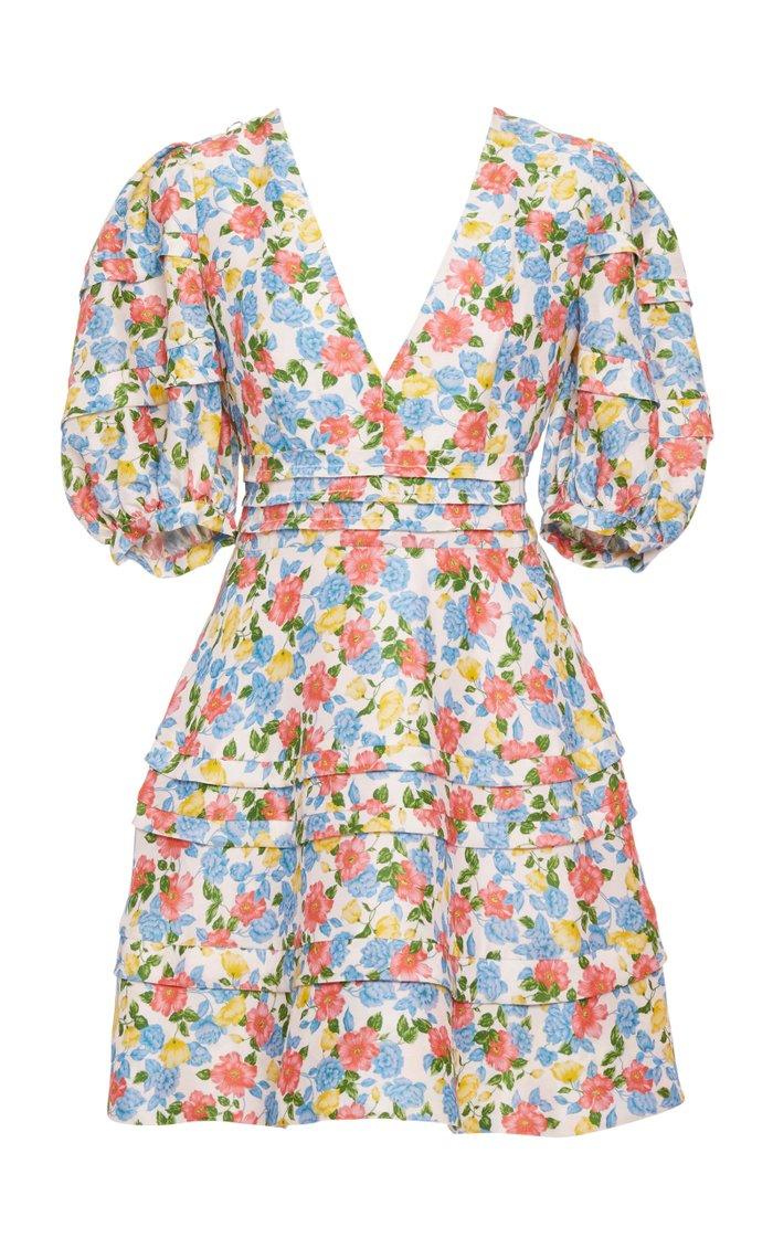 Avian Floral A-Line Silk-Blend Mini Dress