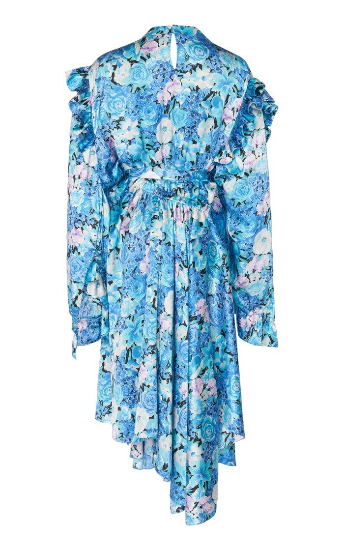 Asymmetric Floral Silk Satin Midi Dress