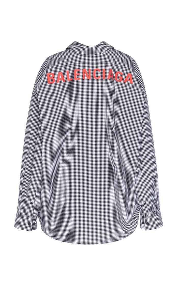 Swing Logo-Print Checked Poplin Shirt