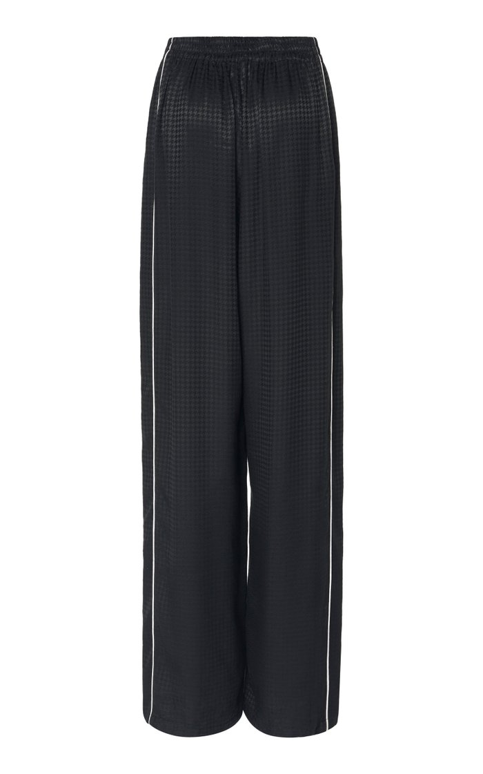 Houndstooth Jacquard Wide-Leg Track Pants