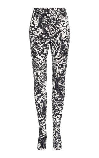 Zebra-Print Stretch-Crepe Leggings