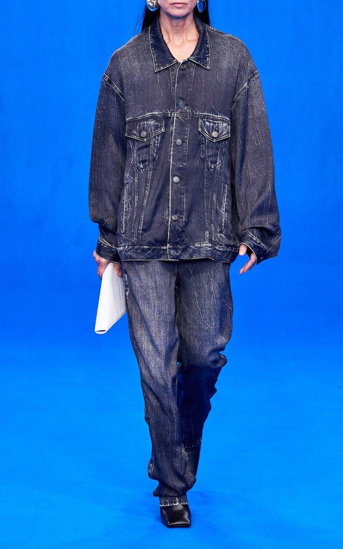 Trompe L'Oeil Viscose-Satin Baggy Pants