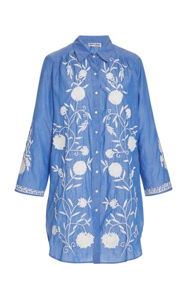 Floral-Embroidered Cotton Chambray Shirt Dress