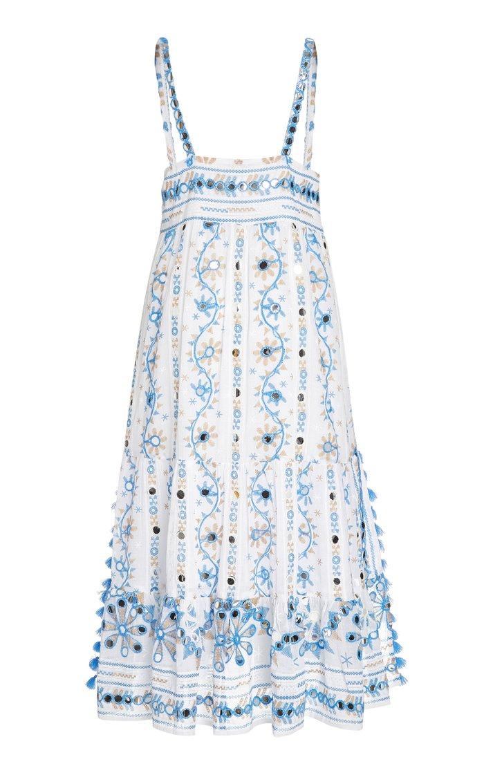 Embellished Nomad-Print Cotton Midi Dress
