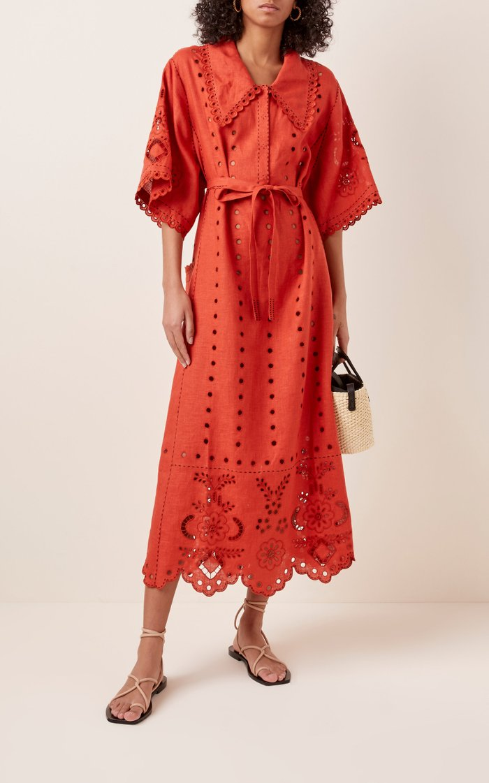 Charlotte Broderie Anglaise Linen Midi Dress