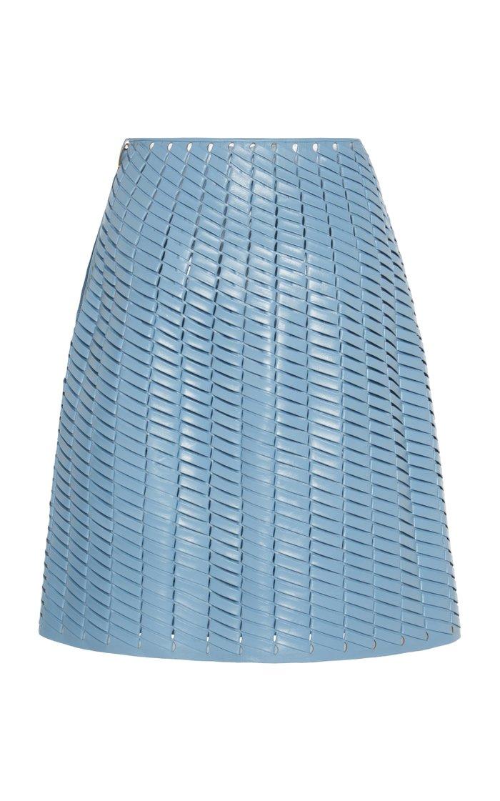 Woven Leather Mini Skirt
