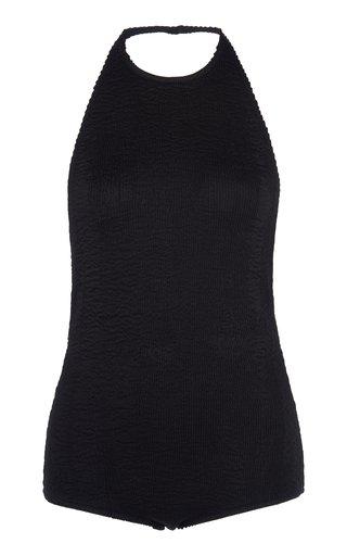 Crinkled Stretch-Jersey Halterneck Bodysuit