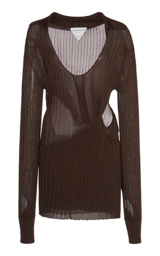 Cutout Ribbed Silk Sweater