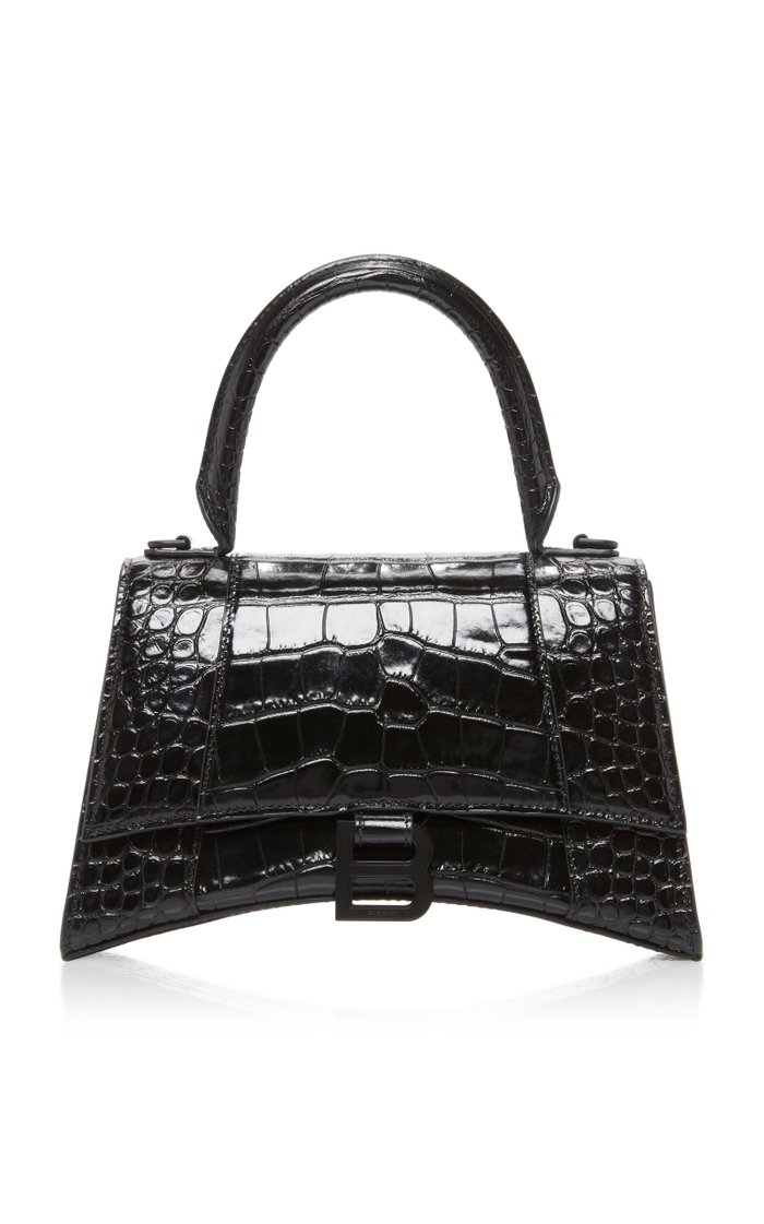 Hourglass S Croc-Effect Leather Bag