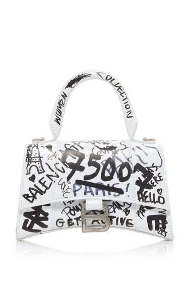 Hourglass XS Graffiti-Print Leather Bag