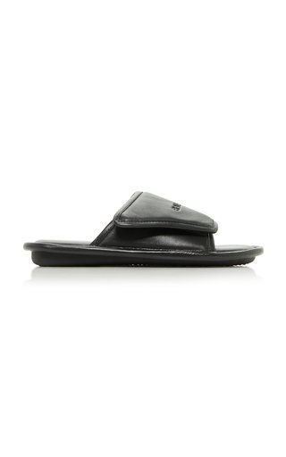 Home Logo-Embossed Leather Slide Sandals