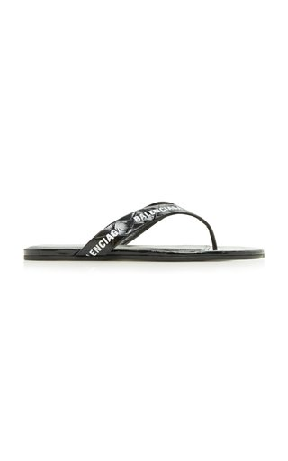 Logo Croc-Effect Thong Sandals