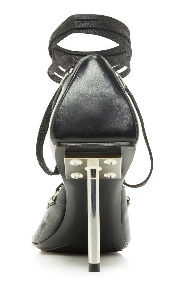 Corset Leather Mule Pumps
