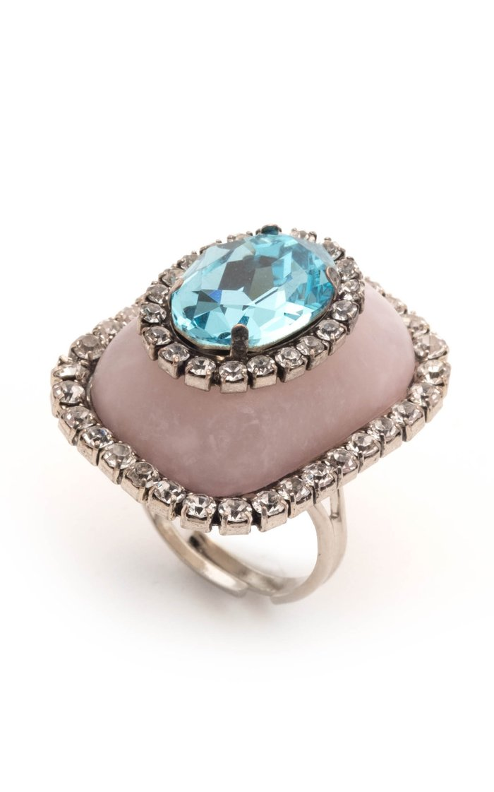 Bebe Silver-Plated And Crystal Ring