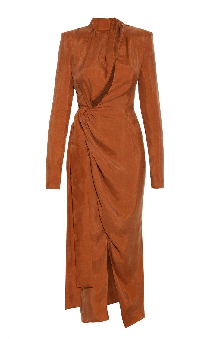 Draped Crepe de Chine Wrap Dress