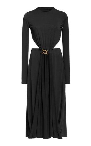 Tina Buckle-Detailed Cutout Crepe Dress