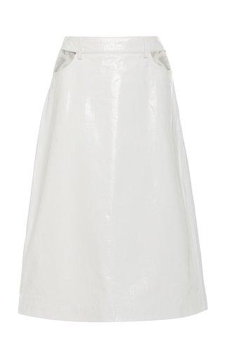 Perla Croc-Effect Leather Midi Skirt