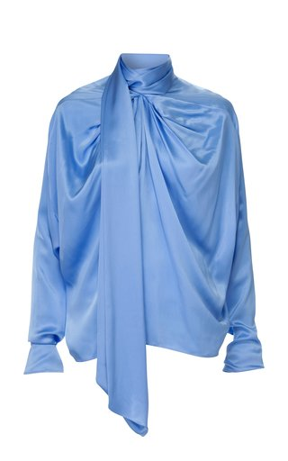 Michaella Draped Silk Tie-Neck Top