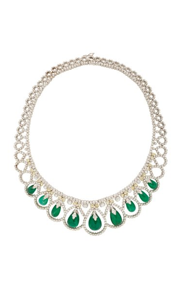 18K White Gold, Emerald, Natural Yellow And White Diamond Necklace