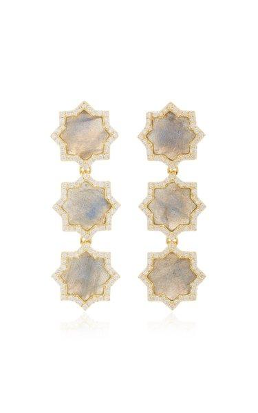 Triple Star 18K Gold, Labradorite And Diamond Earrings