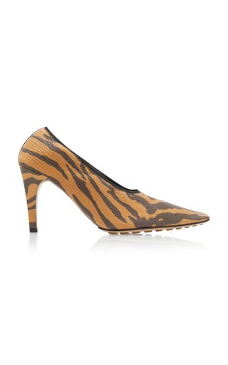 Printed Textured-Leather Pumps