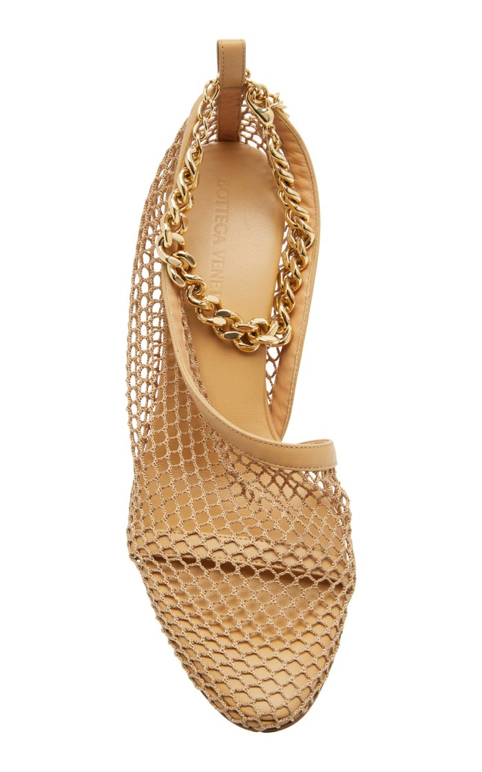 Embellished Mesh and Leather Pumps