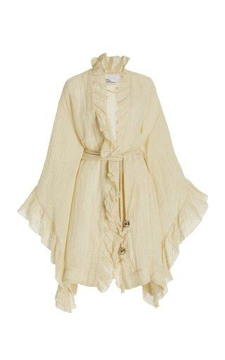 Anita Ruffled Linen-Blend Mini Robe