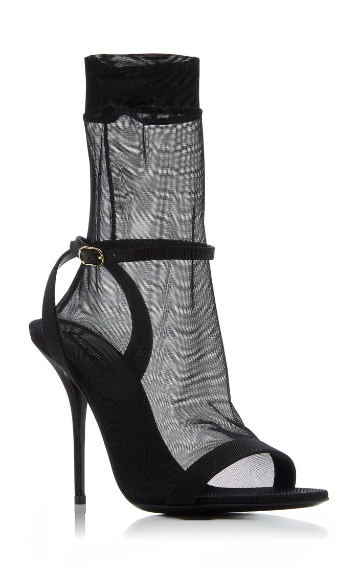 Grosgrain And Stretch-Tulle Leather Sandals